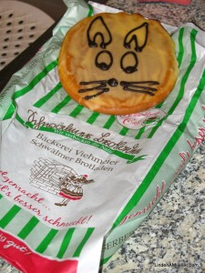 Amerikaner, a delicious pastry from our local bakery, decorated like a bunny for Easter
