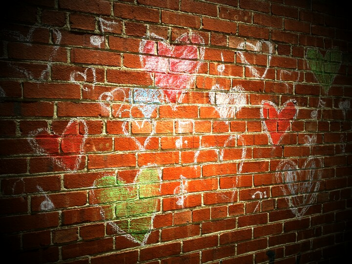 chalk graffiti hearts